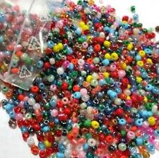 250g Rocailles Glas Perlen 4mm Rund Mehrfarbig Opak Silbereinzug BEST Z13#250g