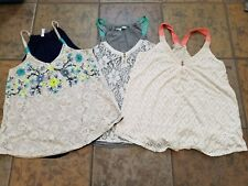 Lot of 3 Women's Lace Swing Tanks Tops Maurices Xhilaration Size Medium M