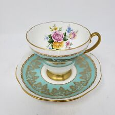 Foley Bone China Tea Cup & Saucer - Roses w/ Grapes / Leaves - Turquoise - 3785