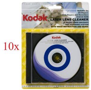 10 Kodak DVD / CD Laser Lens Cleaner Disc, 6 Micro Fibre Brushes, Voice+Music
