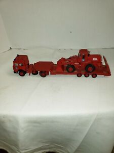 DIECAST CONSTRUCTION TOY TRACTOR TRAILER FLAT BED WITH LOADER FIATALLIS FR 20