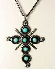 """Vintage Sterling Silver Turquoise Cross Liquid Silver Necklace 18"""" - 2196"""