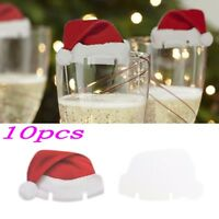 10 Pack Xmas Hats Champagne Wine Glass Caps Christmas Holiday Party Decorations