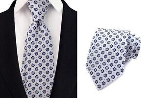 Tie White Blue Flower Floral Handmade 100% Silk Wedding Necktie 8cm Width