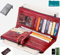 Genuine Leather Ladies Wallet Clutch Purse Coin Bag Card ID Phone Holder
