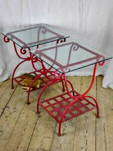 """Pair of 1960's side tables - red wrought iron with glass tops 19¾"""" x 19¾"""""""