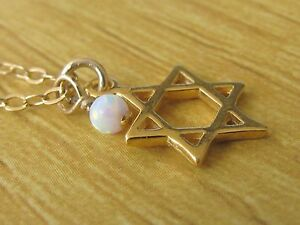 Opal necklace, star of David necklace, gold necklace, opal bead necklace, opal