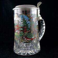 Grosse CHOPE à BIERE Verre & Etain bmf Allemand ancien/glass/beer stein/krug/mug