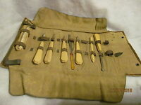 Vintage Manicure-Pedicure Set with Celluloid Handles in RollUp Case - 8 Pc Set