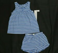 $39.95 Gap Girls 2 PC PJ Set Pajama Tank Short Sleepwear Striped White Blue 4 6