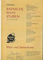 Vintage MUNCHENS BADISCHE WEIN STUBEN Menu Germany 1966