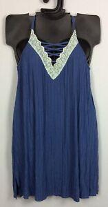 Sleep Cacique 14/16 26/28 BIJOU BLUE Knit Chemis Loungewear Lane Bryant NWOT