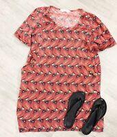 Nomads Feather Eye Dress Orange Mix Sz 14 Short Sleeve Casual Tunic