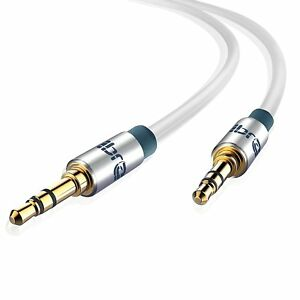 IBRA® 1M 3.5mm Stereo Headphone Audio Jack / AUX Gold Cable - White