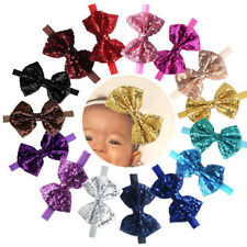 "15Pcs Baby Headbands Sparkly Glitter 4"" Big Hair Bows Baby Girl Headbands Lot"
