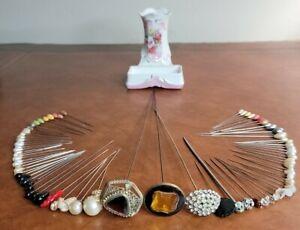Antique Hat Pins Lot Rhinestones Glass Jewels Porcelain Flower Floral Holder
