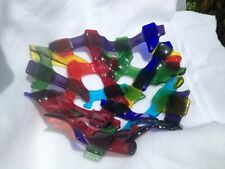 "ABSTRACT ART GLASS COBALTBLUE/ASSORTED COLORED GLASS/CONNECTING GLASS 10""WBOWL"