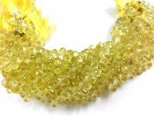 "Natural Lemon Topaz Tear Drop 3x5-4X7mm, 7"" Strand Teardrop Briolette Beads"