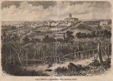 1866 Veduta di Monterotondo provincia di Roma xilografia da Emporio pittoresco