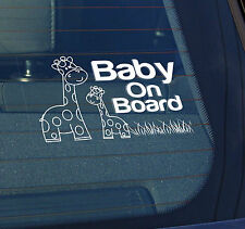 Static Cling Window Car Sign/Decal Giraffes Baby on Board 100 x 150mm