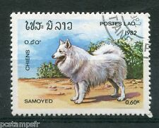 LAOS, 1982, timbre 425, CHIEN SAMOYEDE, oblitéré, VF used stamp, DOGS