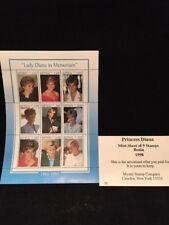 Princess Diana 1998 Benin Stamps  Mint Sheet of Nine Stamps