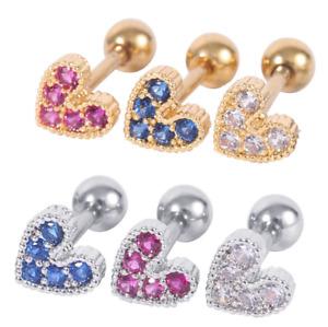 1 Heart Lower Ear Bar Earrings Ring Stud Piercing Stainless Labret Lip Bars Gift