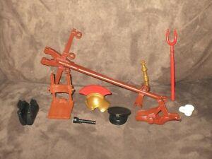 Playmobil Action Figure Accessories - Helmet, Doctor's Bag, Flashlight, Saddle