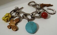 Lucky Brand Charm Bracelet Turquoise, Red Jasper, Yellow Jasper, Tiki wood