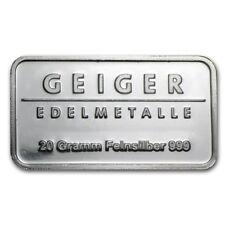 Lingot 20g Argent pur 999 Neuf / GEIGER Edelmetalle 20 Grams Fine Silver 999 Bar