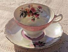 VINTAGE 1950's HAND PAINTED TEA CUP & SAUCER - FLORAL W/GOLD TRIM DESIGN - JAPAN