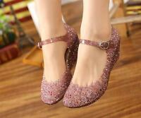 Womens Hollow Out Crystal Sandals Jelly Ankle Strap Wedge Heel Pumps Shoes Sz##