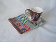 New Wave Caffee Villeroy and Boch Espresso Cup and Snack Plate Hearts + Stripes