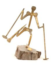 Handmade Sculpture Metal Skier Figure Hand Forged Nails Wood Base Art Olympics