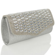 NEW WOMENS CLUTCH BAG GLITTER LADIES DIAMANTE PROM PARTY WEDDING EVENING BAG UK