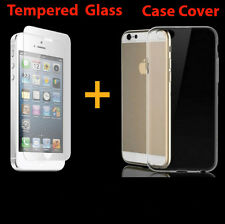 Silicone Soft Clear Case Cover + Tempered Glass Screen Protector For iPhone 5 5s