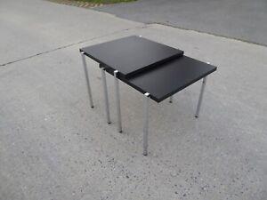 ANTONIO CITTERIO KARTELL NESTING TABLES TWO BLACK CHROME VINTAGE SIGNED