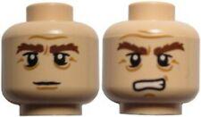 LEGO - Minifig, Head, Bushy Brown Eyebrows, Stern / Grimacing Pattern