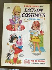 """1969 SAALFIELD """"PAPER DOLLS WITH LACE-ON COSTUMES """" UNCUT #6068:150 NEW ORIG BOX"""