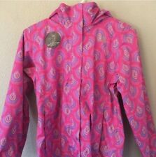 Girls North Face Peacock Print Pink Rain Jacket Size Large New With Tags