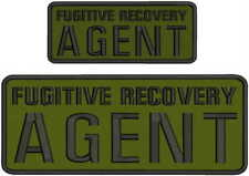 Fugitive Recovery Agent embroidery patches 4x10 and 2.5x6 hook od green backing