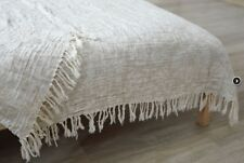 LINEN BED THROW,  BLANKET,  BEDDING LINENS. HOME DECOR (53 X 79 IN)
