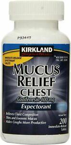 Kirkland Signature Mucus Relief Guaifenesin 400mg Chest Expectorant 200 Tablets