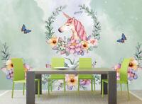 3D Einhorn Blume Q140 Tapete Wandbild Selbstklebend Abnehmbare Aufkleber Kids Su