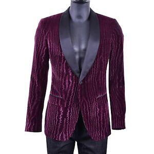 Dolce & Gabbana Baroque Moiré Velvet Tuxedo Jacket Blazer Burgundy Black 05490