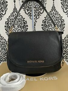 Michael Kors Bedford Pebbled Leather Med Flap Crossbody Bag Black BNWT