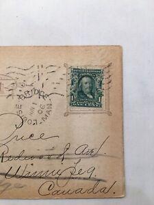 Ben Franklin Series 1902 1 Cent Stamp Vintage PostCard 1906 Postmark USA FLAG