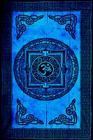 Blau & Schwarz Keltisch OM Tagesdecke Bett Sofa Überwurf Tischdecke Wandbehang