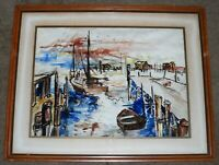 FRANKLIN WURSTER PENCIL SIGNED ORIGINAL WATERCOLOR PAINTING OF BOAT DOCK