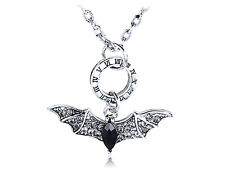 Cool Roman Numeral Time Crystal Rhinestone Big Bat Costume Ali Pendant Necklace